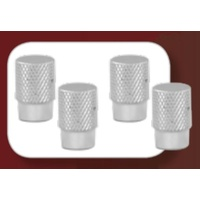 Alloy Knurled Tyre Valve Caps Set of 4 6219 Chrome
