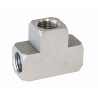 "AEROFLOW STAINLESS STEEL TEE BRAKE FITTING 3/8""-24 INV FLARE AF385"