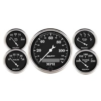 AUTOMETER OLD TYME BLACK 5 GAUGE KIT AU1709 SPEEDO,FUEL,WATER TEMP,OIL,VOLTS