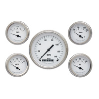 "Classic Instruments (WH00SLF) White Hot 5 Gauge Set 3 3/8"" Speedo, 2 1/8"" Fuel,"