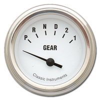 "Classic Instruments (WH07SLF) White Hot 2 1/8"" Gear Indicator"