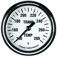 "Classic Instruments (WH327SLF) White Hot 2 5/8"" Transmission Temperature Gauge"