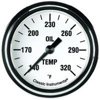"Classic Instruments (WH328SLF) White Hot 2 5/8"" Oil Temperature Gauge"