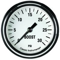 "Classic Instruments (WH342SLF) White Hot 2 5/8"" Boost Gauge, 30 psi"
