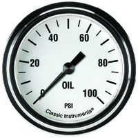 "Classic Instruments (WH381SLF) White Hot 2 5/8"" Oil Pressure Gauge"