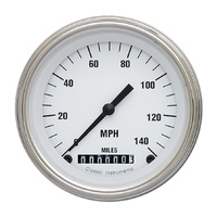 "Classic Instruments (WH55SLF) White Hot 3 3/8"" Speedometer 140 MPH"