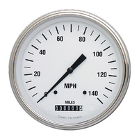 "Classic Instruments (WH56SLF) White Hot 4 5/8"" Speedometer 140 MPH"