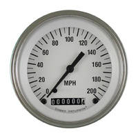 "Classic Instruments (WH57SLF) White Hot 3 3/8"" Speedometer 200 MPH"