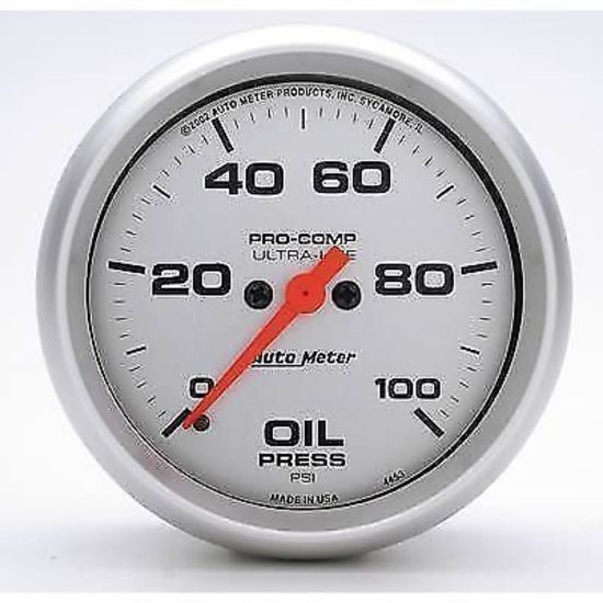 "Autometer 4368 Ultra Lite Electric Water Pressure Gauge: AUTOMETER ULTRALITE 2-5/8"" ELECTRIC OIL PRESSURE GAUGE 0"