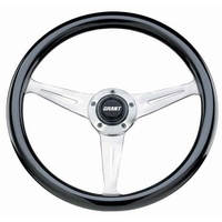 "GRANT 14.5"" COLLECTOR'S EDITION STEERING WHEEL BLACK WOOD GRIP 3"" DISH GR1178"