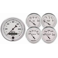 AutoMeter AU1200 Old Tyme White II Gauge Kit Speedo Fuel Water Temp Oil Volts