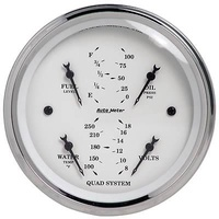 "AUTOMETER OLD TYME WHITE QUAD GAUGE 3-3/8"" FUEL,WATER TEMP,OIL PRES,VOLTS AU1612"