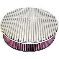 "14"" x 3"" FULL FINNED AIR CLEANER WASHABLE 40823 POLISHED ALLOY FITS 5-1/8"""