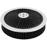 "EXTRAFLOW 45721 AIR FILTER ASSEMBLY 9"" x 2"" BLACK WASHABLE FILTER 5-1/8"" NECK"