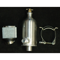 "ALLOY CATCH CAN WITH BREATHER, DRAIN COCK AND HARDWARE 1/2"" NPT FEMALE 6577"