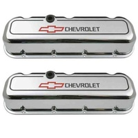 'Chevrolet & Bowtie Emblem' B/B Valve Covers 1965 - Later Tall Die-Cast Chrome