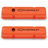 'Chevrolet And Bowtie Emblem' S/B V8 Stamped Valve Covers Tall Orange.