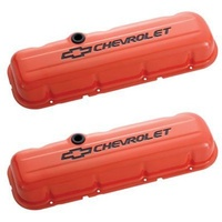 'Chevrolet And Bowtie Emblem' B/B Stamped Valve Covers Tall Orange.