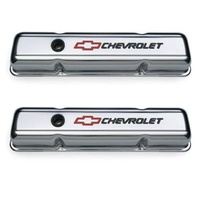 'Chevrolet & Bowtie Emblem' S/B Chrome Short Valve Covers Red Bowtie & Black Lettering.