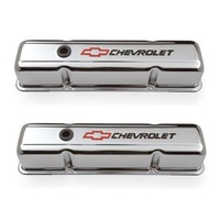 'Chevrolet & Bowtie Emblem' S/B Chrome Tall Valve Covers Red Bowtie & Black Lettering.