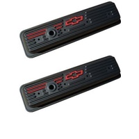 Chevrolet Red Bowtie Emblem S/B Center Hold-Down Stamped Valve Covers 87-Ls Black Crinkle