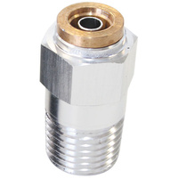 "Aeroflow AF121-04S 1/4"" NPT Straight to 1/4"" 120 Series Nylon Silver Fitting"