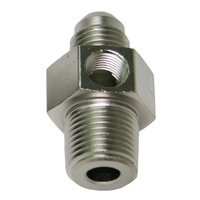 "AEROFLOW MALE NPT TO ADAPTER 3/8"" TO -6AN WITH 1/8"" PORT SILVER AF139-06-08S"