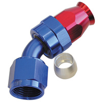 AEROFLOW 200 SERIES 45° TEFLON HOSE END -8AN ANODISED BLUE/RED AF202-08D