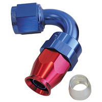 AEROFLOW 200 SERIES 120° TEFLON HOSE END -6AN ANODISED BLUE/RED AF204-06D