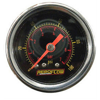 "AEROFLOW 1-1/2"" LIQUID FILLED 0-30 PSI PRESSURE GAUGE BLACK FACE AF30-2008"
