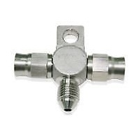 AEROFLOW STAINLESS STEEL TEE WITH MOUNT TAB FITTING -3AN 1 MALE AF328-03-03
