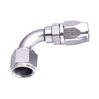 Aeroflow AF503-16S Alloy 90 Deg Hose End -16AN Silver Cuter Style Full Swivel