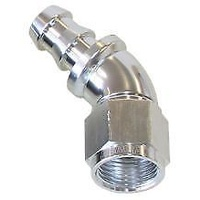 AEROFLOW 510 SERIES 45° PUSH LOCK HOSE END -6AN SILVER AF512-06S