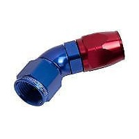 AEROFLOW 550 SERIES FULL FLOW CUTTER STYLE 45° HOSE END -6AN BLUE/RED AF552-06