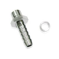 "Aeroflow AF734-01S Metric M18 x 1.5mm to 1//2 Barb Silver Male M18 x 1//2/"" Barb"