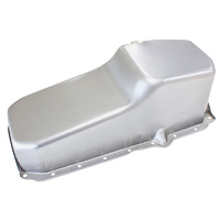 Aeroflow AF82-9414 Stock Oil Pan SBC Late '86 On Rh/Side Dipstick Raw