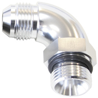 90° ORB to Male AN Full Flow Adapter -8 ORB to -10AN (With Jam Nut, Silver Finish) (AF903-10-08S)
