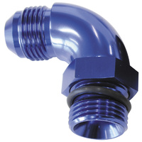 90° ORB to Male AN Full Flow Adapter -20 ORB to -16AN (With Jam Nut, Blue Finish) (AF903-16-20)