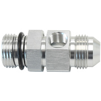 "-10ORB to -10AN Extension with 1/8"" Port (Silver Finish) (AF904-10S)"
