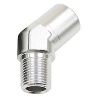 "AEROFLOW 45° NPT FEMALE TO MALE EXTENSION 1-1/4""NPT SILVER AF915-20S"