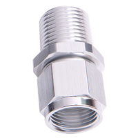 "Aeroflow AF916-10-06S 3/8"" NPT to -10AN Female Nut Silver Straight Swivel Nut"