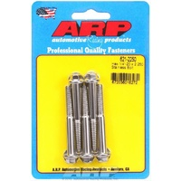 "ARP S/S HEX BOLTS 1/4""-20 RH x 2.250"" UHL POLISHED SET OF 5 ARP621-2250"