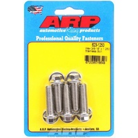 "ARP S/S HEX BOLTS 3/8""-16 RH x 1.250"" UHL POLISHED SET OF 5 ARP623-1250"