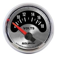 "AUTOMETER AMERICAN MUSCLE 2-1/16"" ELEC VOLTMETER 8-18V SILVER/CHROME AU1294"