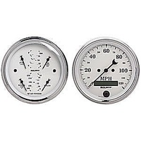 AUTOMETER OLD TYME WHITE SPEEDO/QAUD GAUGE FUEL,WATER TEMP,OIL PRES,VOLTS AU1600