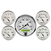 AUTOMETER OLD TYME WHITE GAUGES METRIC SPEEDO,FUEL,WATER TEMP,OIL,VOLTS AU1602-M
