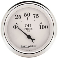 "AUTO METER OLD TYME WHITE 2-1/16"" MECHANICAL OIL PRESSURE GAUGE 0-100 PSI AU1628"