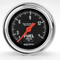 "AUTOMETER TRADITIONAL CHROME 2-1/16"" MECH FUEL PRESSURE GAUGE 0-15 PSI AU2413"