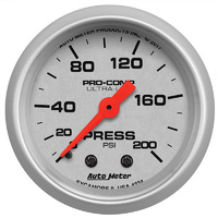 "AutoMeter AU4334 Ultra-Lite Series 2-1/16"" Oil Pressure Gauge Full Sweep 100PSI"
