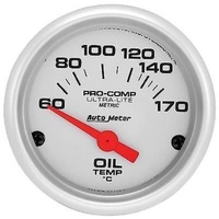"Autometer AU4348-M Ultralite 2-1/16"" Electric Oil Temp Gauge 60-170°C"